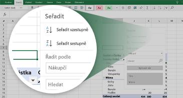 Excelový list s kontingenční tabulkou a zvětšeným zobrazením dostupných funkcí