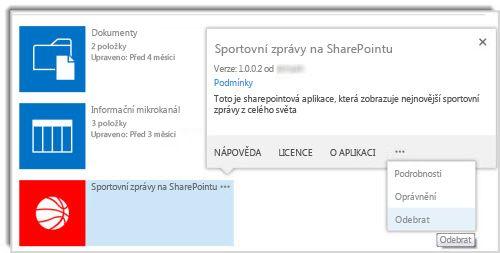 Snímek obrazovky s příkazem Odebrat v popisku vlastností aplikace.