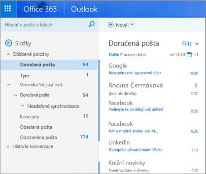 Primární zobrazení Outlooku na webu