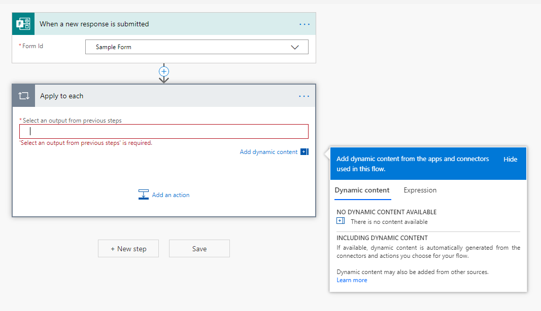 Při používání karty Microsoft Forms se automaticky nenabízí žádný dynamický obsah