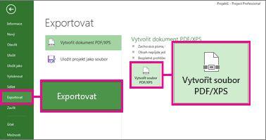 Obrázek tlačítka Vytvořit dokument PDF/XPS