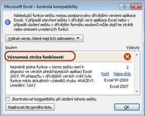 Dialogové okno Kontrola kompatibility