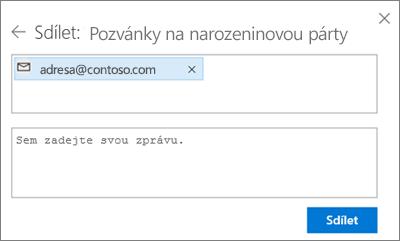 Snímek obrazovky znázorňující zvaní lidí poté, co v dialogovém okně Sdílet vyberete možnost E-mail