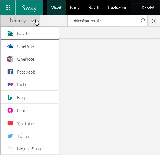 Snímek obrazovky s rozbalenou nabídkou zdroje hledání.