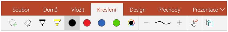 Snímek karty Kreslení v PowerPointu Mobile pro Windows 10