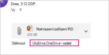 Odkaz ke stažení pro uložení přílohy na OneDrive