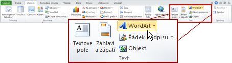 Karta vložení v aplikaci Excel insert zvýrazněným tlačítkem WordArt.