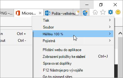 Snímek obrazovky s nabídkou nástroje v aplikaci Internet Explorer