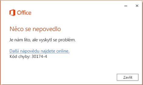 Kód chyby 30174-4 při instalaci Office