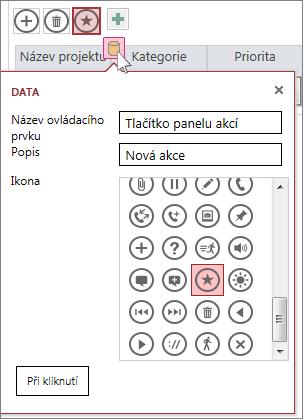 Dialogové okno Data vlastní akce ve webovém datovém listu