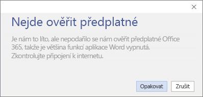 """Snímek obrazovky s chybovou zprávou """"Nepodařilo se ověřit předplatné"""""""