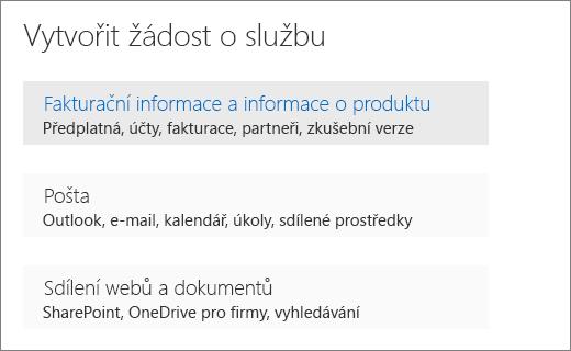 """Vytvoření žádosti o nabídku služby v centra pro správu Office 365 s vybranou možností """"Fakturace a informace o produktech""""."""