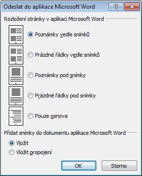 Dialogové okno Odeslat do aplikace Microsoft Word