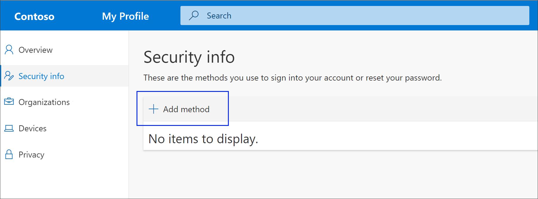Stránka s bezpečnostními informacemi se zvýrazněnou možností Přidat metodu