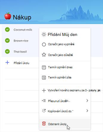 Snímek obrazovky s možností odstranit úkoly v kontextové nabídce