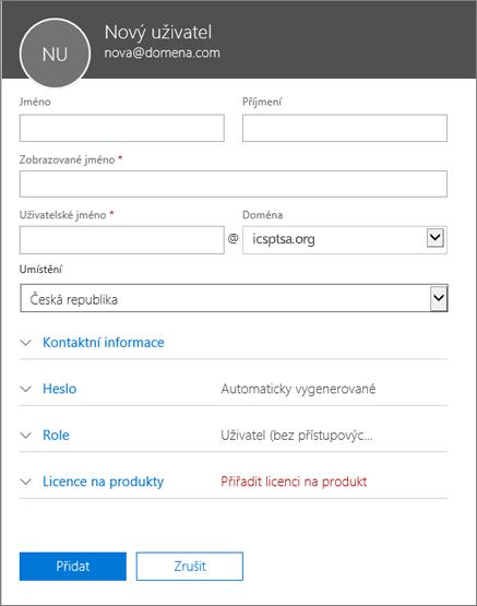 Snímek obrazovky s poli, která se vyplňují při přidání uživatele do Office 365 pro firmy