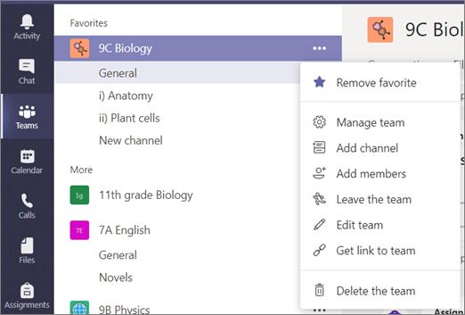 Vaplikaci Microsoft Teams vyberte vdalších podrobnostech možnost Zobrazit tým.