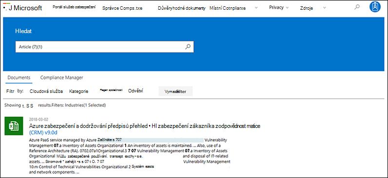 Portál zabezpečení služby – hledání na dokumentech s filtrem