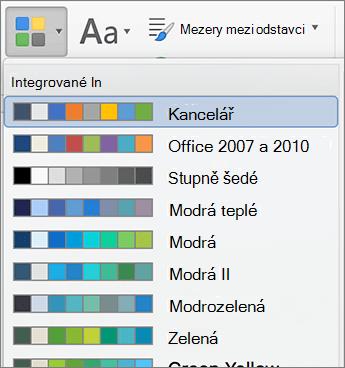 Možnosti pro změnu barvy po kliknutí na tlačítko barvy
