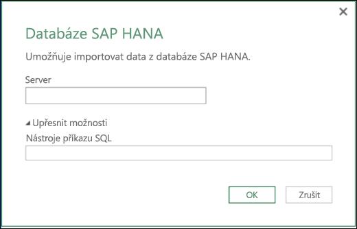 Dialog importu databáze SAP HANA v Power BI v Excelu