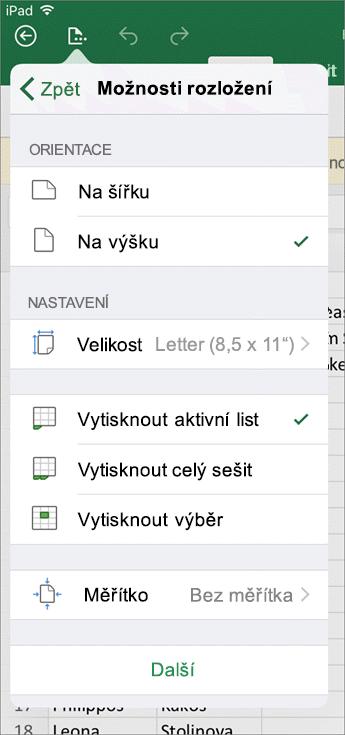 Dialogové okno Nastavení tisku umožňuje v Excelu pro iOS nakonfigurovat, jak se list vytiskne.