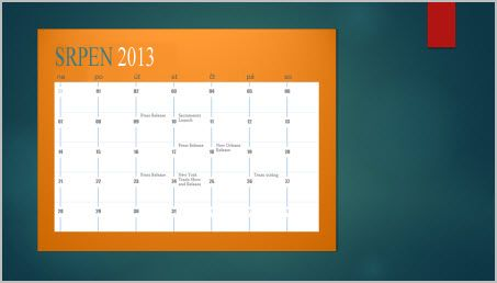 Přidání kalendáře do snímku