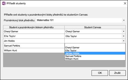 Snímek obrazovky s postupem, jak namapovat studenty na jména studentů v systému Canvas