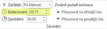 Možnost Doba trvání pro animační efekty v PowerPointu