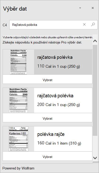 """Snímek obrazovky výběru dat s několika výsledky pro """"rajčatová polévka""""."""