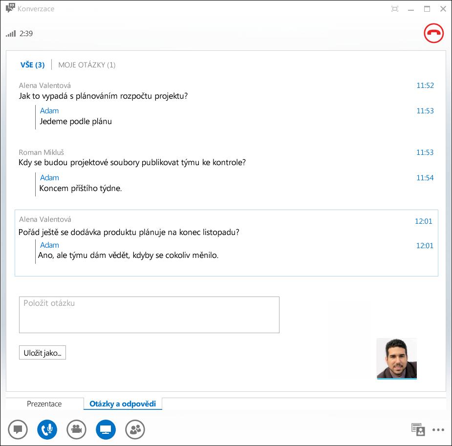 Snímek obrazovky s nástrojem Otázky a odpovědi