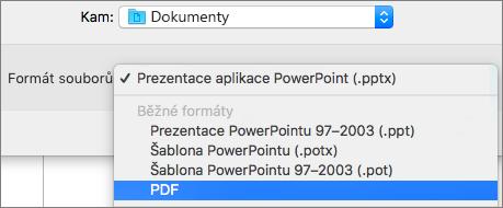 Ukazuje možnost PDF v seznamu formátů souboru v dialogovém okně Uložit jako v PowerPoint 2016 pro Mac.