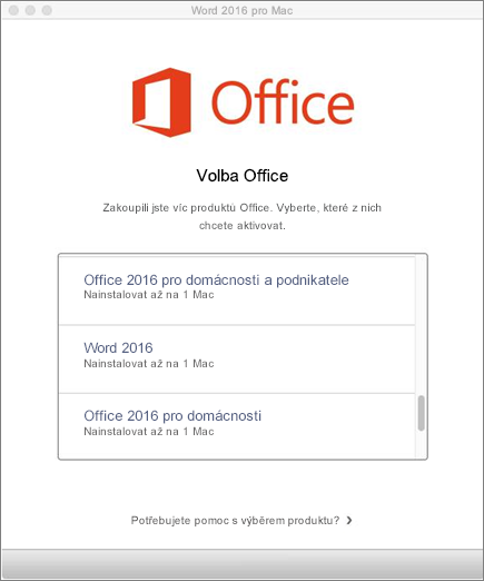 Zvolte typ licence Office 2016 for Mac.