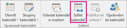 Tlačítko Sdílet kalendář na kartě Domů v Outlooku 2013