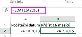 Použití vzorce EDATE k přičtení měsíců ke kalendářnímu datu