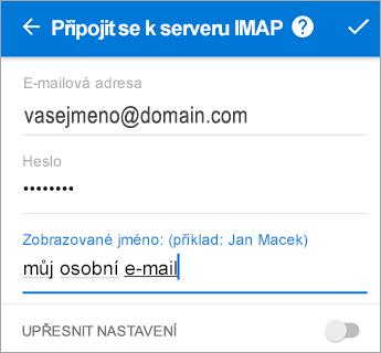 Zadejte svoje heslo a nastavení serveru může potřebovat.