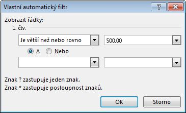 Dialogové okno Vlastní automatický filtr