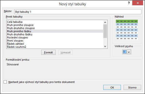Nové možnosti v dialogovém okně Styl tabulky pro použití vlastního stylu tabulky