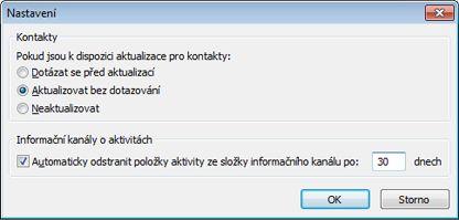 Dialogové okno pro nastavení konektoru Outlook Social Connector
