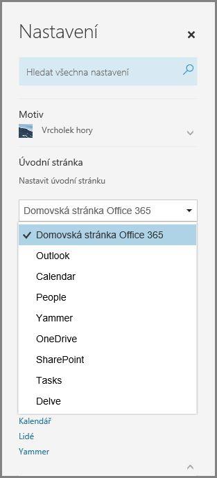 Změna úvodní stránky Office 365