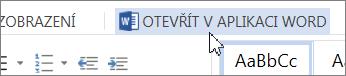 Tlačítko Otevřít v aplikaci Word