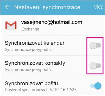 Synchronizace je povolená.