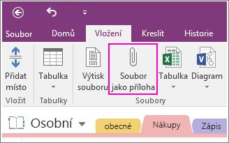 Snímek obrazovky s tlačítkem vložit přílohu souboru ve Onenotu 2016.