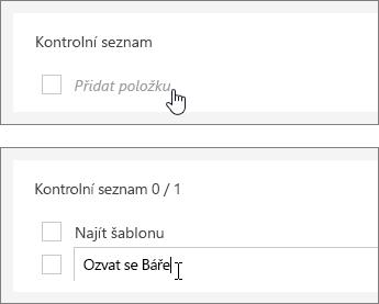 Přidání kontrolního seznamu k úkolu