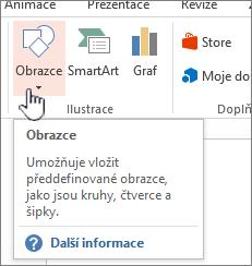 Tlačítko pro vkládání obrazců v PowerPointu