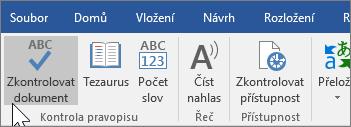 Zobrazuje možnost Zkontrolovat dokument na kartě Revize.