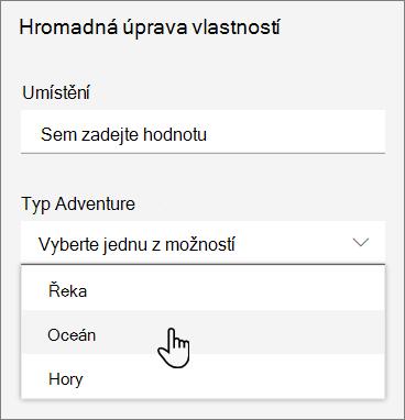 Snímek obrazovky s v podokně podrobností propery hodnotami