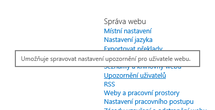 Upozornění odkaz pro web správu webu nastavení uživatele