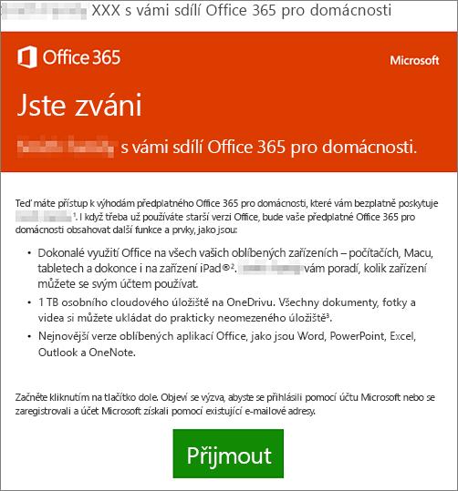 E-mailové oznámení, že s vámi někdo sdílí Office 365 pro domácnosti