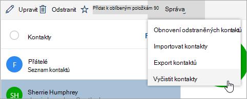Snímek obrazovky s vyčistit možnost kontakty v nabídce spravovat