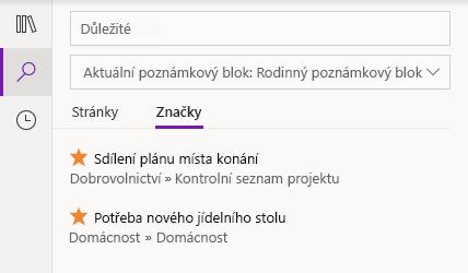 Výsledky hledání značek ve OneNotu pro Windows 10